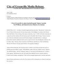 City of Greenville Media Release