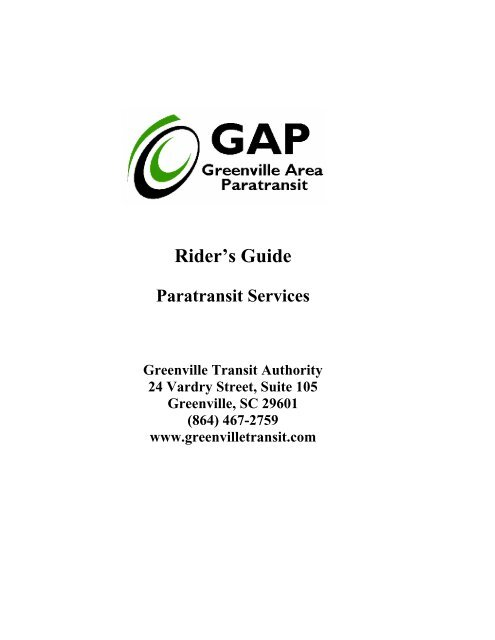 Greenville Area Paratransit Rider's Guide