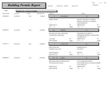 Building Permits Report - City of Greenville