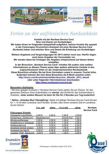 Nordsee Service Card 2013 Vorteile in Krummhörn-Greetsiel