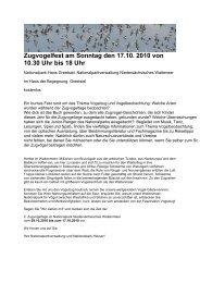 Zugvogelfest am Sonntag den 17.10. 2010 von 10.30 Uhr bis 18 Uhr