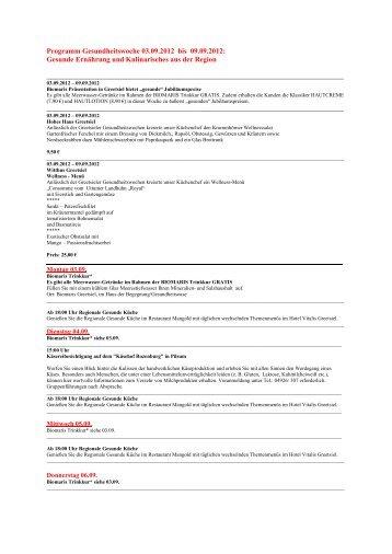 Programm Gesundheitswoche 03.09.2012 bis 09.09.2012: Gesunde ...