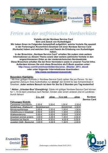 Vorteile mit der Nordsee Service Card Sinn und Zweck von ...