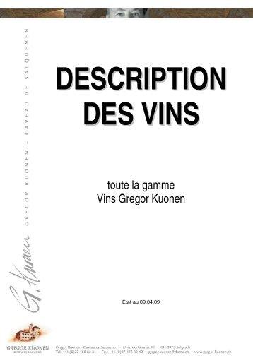 toute la gamme Vins Gregor Kuonen