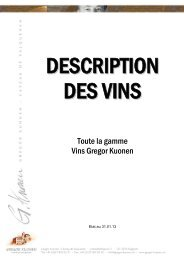Description des vins F - Gregor Kuonen