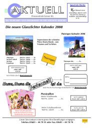 Die neuen Glanzlichter Kalender 2008 - Pressevertrieb Greiser KG