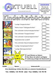 VKP 2.99 € Tel.: 03681/ 44 78 55 oder Fax: 03681/ 44 78 78