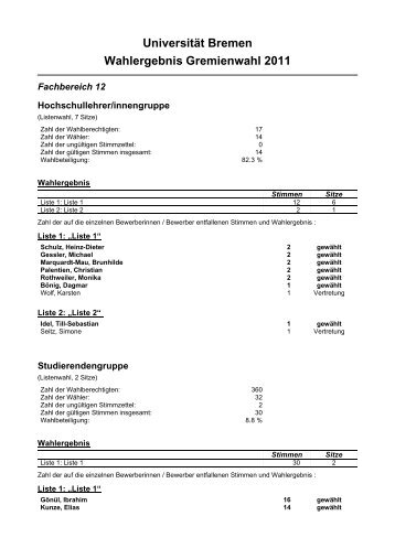 Fachbereich 12 - Gremienwahlen - Universität Bremen