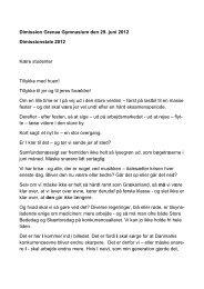 Rektor Ole Fjords tale - Grenaa Gymnasium