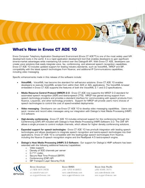 What's New in Envox CT ADE 10 - BRESSNER Technology Gmbh
