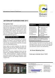 UNTERKUNFTSVERZEICHNIS 2013