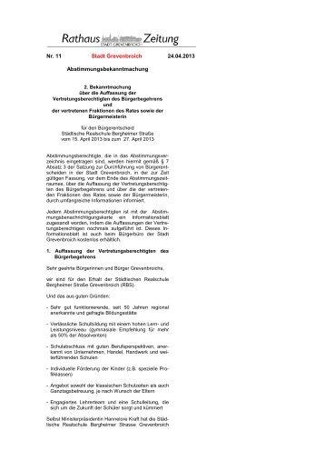 Rathaus-Zeitung Nr. 11/2013 vom 24.04.13 - Stadt Grevenbroich