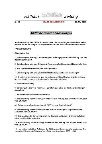 Rathaus Zeitung - Stadt Grevenbroich