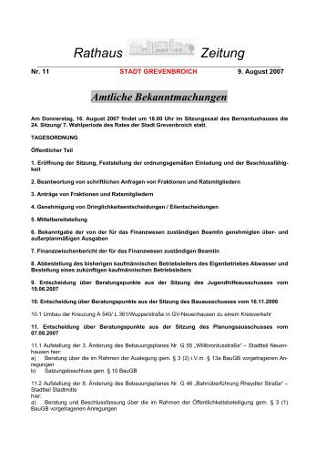 Rathaus-Zeitung Nr. 11/2007 vom 09.08.07 - Stadt Grevenbroich