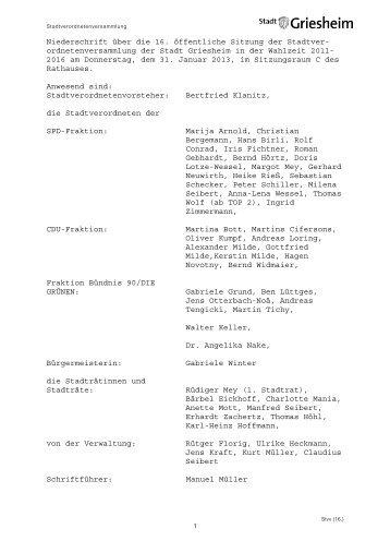 16. Stadtverordnetenversammlung 31.01.2013.pdf - Stadt Griesheim