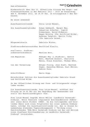 15. Haupt- und Finanzausschuss 08.11.2012.pdf - Stadt Griesheim