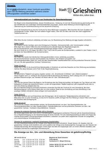 Informationsblatt zum Ausfüllen von ... - Stadt Griesheim