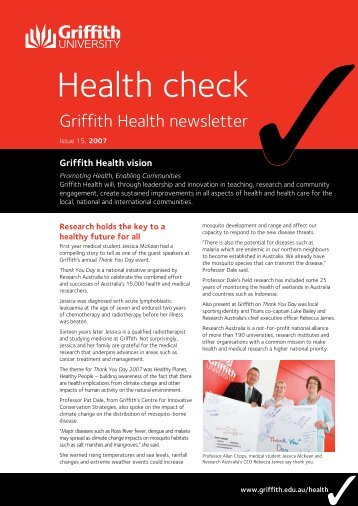 Health Check Issue 15 2007 ( PDF 439k) - Griffith University