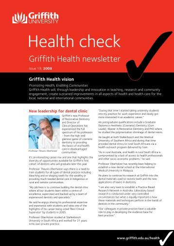Health Check Issue 19 2008 (PDF 283k) - Griffith University