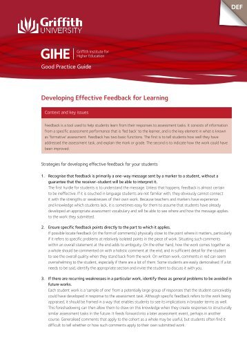 Developing Effective Feedback for Learning Strategies for academic ...