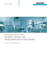 Die Winterhalter Preisliste 2009 - Grimm-Gastrobedarf