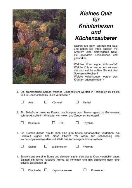 Kleines Quiz für Kräuterhexen und Küchenzauberer