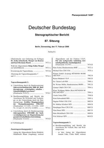 Stenographischer Bericht 87. Sitzung - Deutscher Bundestag