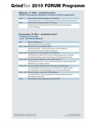 GrindTec 2010 FORUM Programm