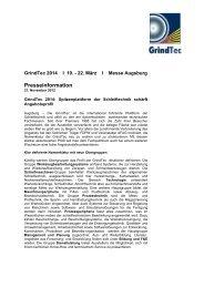Spitzenplattform der Schleiftechnik schärft Angebotsprofil - GrindTec