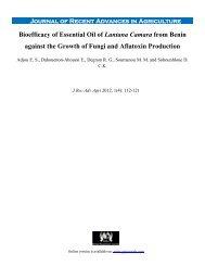 Bioefficacy of Essential Oil of Lantana Camara from Benin against ...