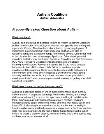Frequently asked Question about Autism