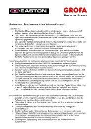 Basiswissen EASTON Velomax Speichtechnik - Grofa