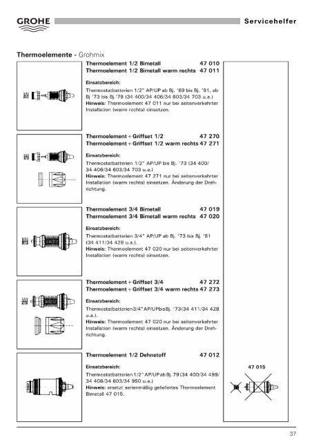 Thermoelemente - Grohmix Servicehelfer - Grohe