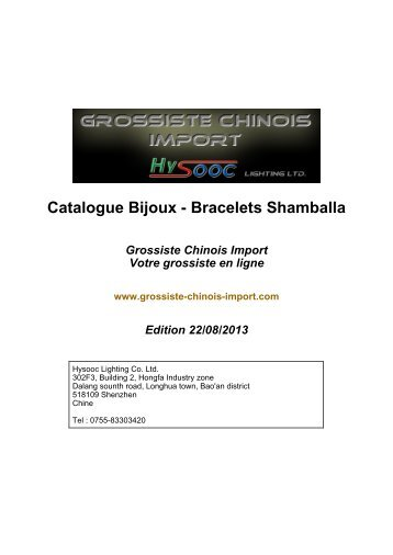 Catalogue Bijoux - Bracelets Shamballa - Grossiste chinois import