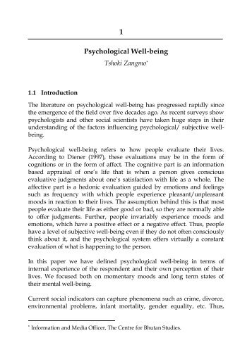 1 Psychological Well-being - Gross National Happiness