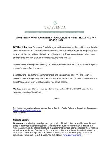 grosvenor fund management announce new letting at almack house ...