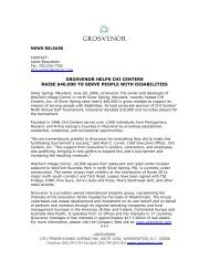 GROSVENOR HELPS CHI CENTERS