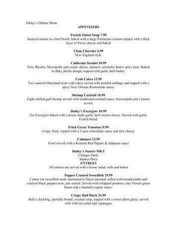 Dailey's Dinner Menu APPETIZERS French Onion Soup 7.99 ...
