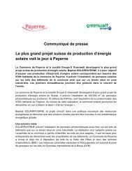 Communiqué de presse Le plus grand projet suisse de ... - Groupe E