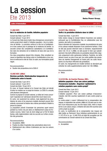Été 2013 - PDF (111Kb) - Groupe Mutuel