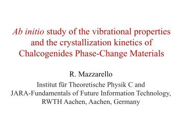 Ab initio study of the vibrational properties and the crystallization ...