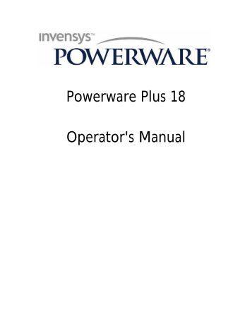 Powerware Plus 18 Operator's Manual