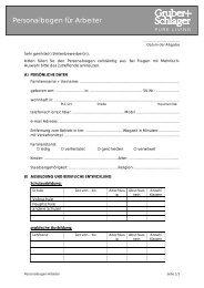 Personalbogen für Arbeiter - Gruber+Schlager