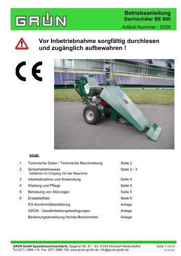 Betriebsanleitung Dachschäler BE 600 - Grün GmbH