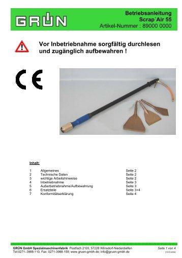 Betriebsanleitung Scrap´Air 55 - Grün GmbH
