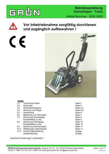 Betriebsanleitung Dachstripper - Turbo - Grün GmbH