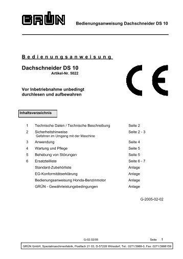 Bedienungsanweisung Dachschneider DS 10 - Grün GmbH