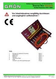 Brenner Box Standard Vor Inbetriebnahme sorgfältig ... - Grün GmbH