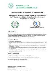 Einladung zum Strassenfest in Grossbottwar - Grün-Weiss Effretikon