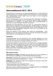 Ideenwettbewerb 2012 / 2013 - GründerCampus Ruhr